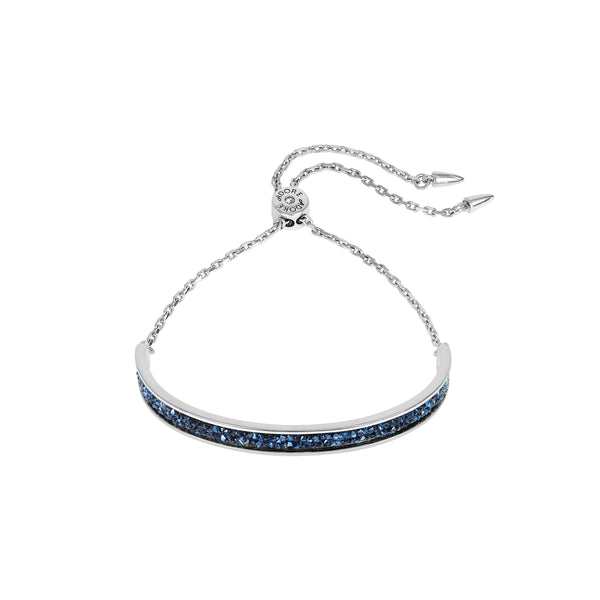 Ultra Fine Rock Slide Bracelet - Blue Crystal/Rhodium Plated