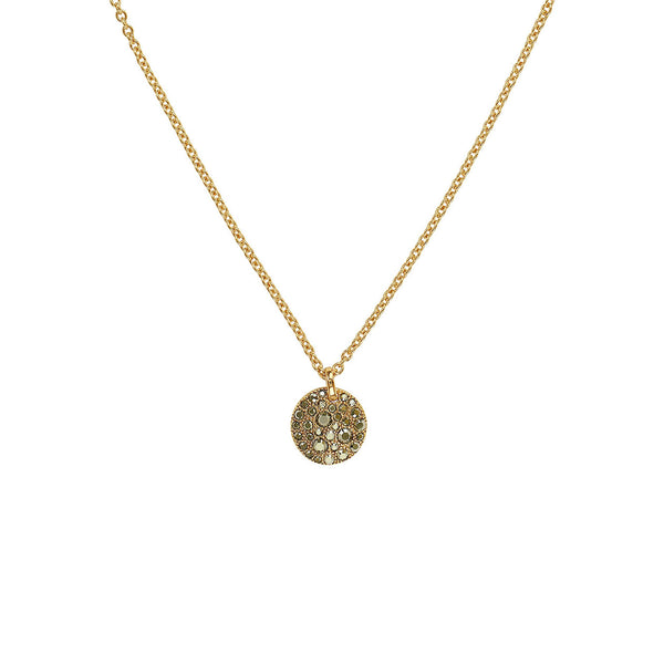 Small Metallic Pavé Disc Necklace