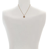 Small Metallic Pavé Disc Necklace - Light Gold Crystal/Gold Plated