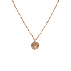 Small Metallic Pavé Disc Necklace - Rose Gold Crystal/Rose Gold Plated