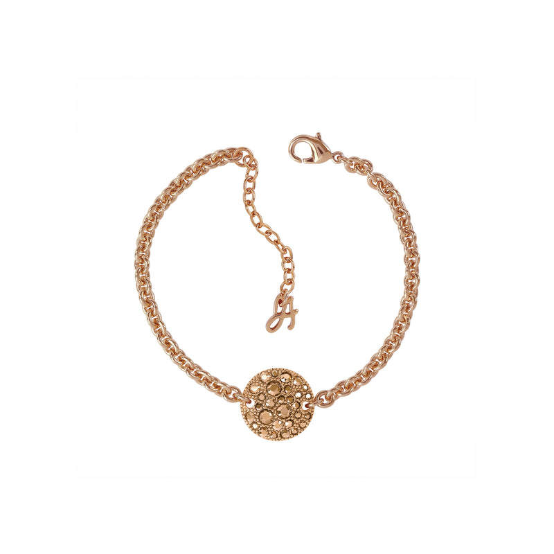 Small Metallic Pavé Disc Bracelet - Rose Gold Crystal/Rose Gold Plated