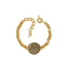 Large Metallic Pavé Disc Bracelet - Light Gold Crystal/Gold Plated