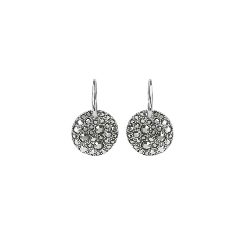 Metallic Pavé Disc French Wire Earrings - Crystal/Rhodium Plated