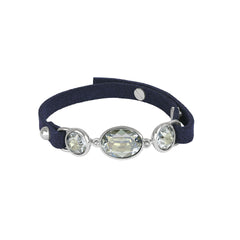 Crystal & Suede Bracelet - Blue Crystal/Rhodium Plated