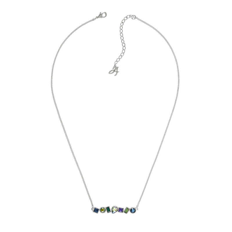 Mixed Crystal Bar Necklace - Mixed Crystal/Rhodium Plated Mixed Blue