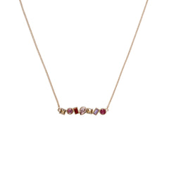 Mixed Crystal Bar Necklace - Pink Crystals/Rose Gold Plated Mixed Pink