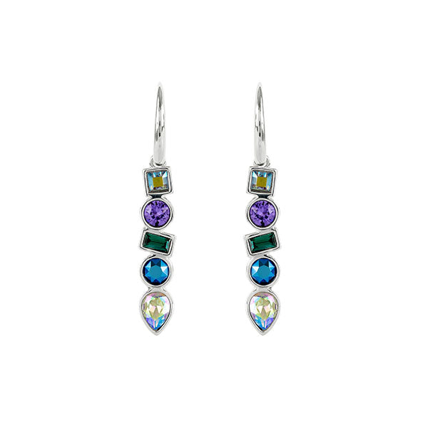 Mixed Crystal French Wire Earring - Blue Crystal/Rhodium Plated