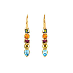 Mixed Crystal French Wire Earring - Mixed Crystals/Gold Plated