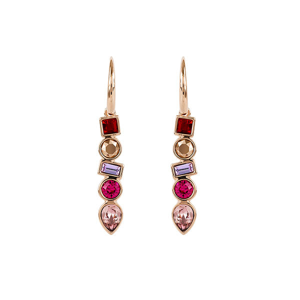 Mixed Crystal French Wire Earrings - Pink Crystals/Rose Gold Plated