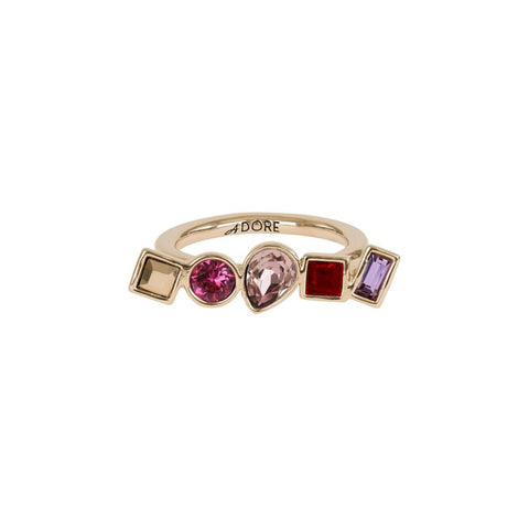 Mixed Crystal Ring - Pink Crystals/Rose Gold Plated