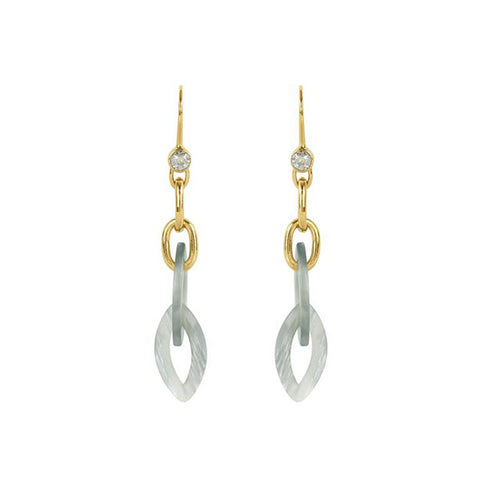 Resin Link French Wire Earring - Silver Crystal/Gold Plated