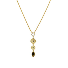 Mixed Resin Y-Necklace - Ivory Crystal/Gold Plated