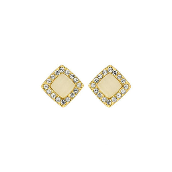 Resin & Pavé Post Earrings - Crystal/Gold Plated