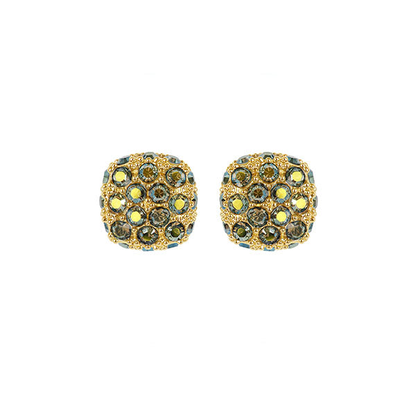 Pavé Cushion Earring - Green Crystal/Gold Plated