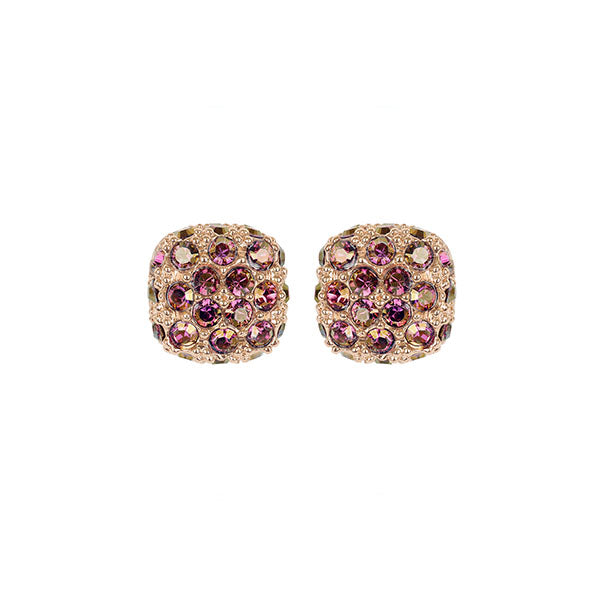 Pavé Cushion Earrings - Lilac Shadow Crystal/Rose Gold Plated