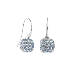Pavé Cushion French Wire Earring - Blue Crystal/Rhodium Plated