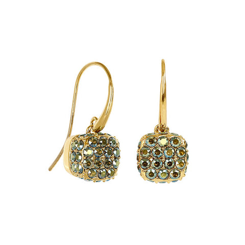 Pavé Cushion French Wire Earring - Green Crystal/Gold Plated