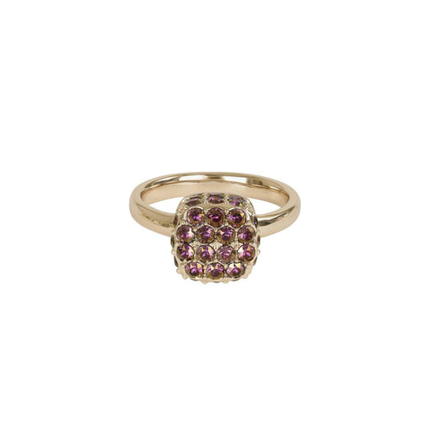 Pavé Cushion Ring - Lilac Shadow Crystal/Rose Gold Plated