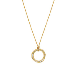 Organic Circle Necklace - Crystal/Gold Plated