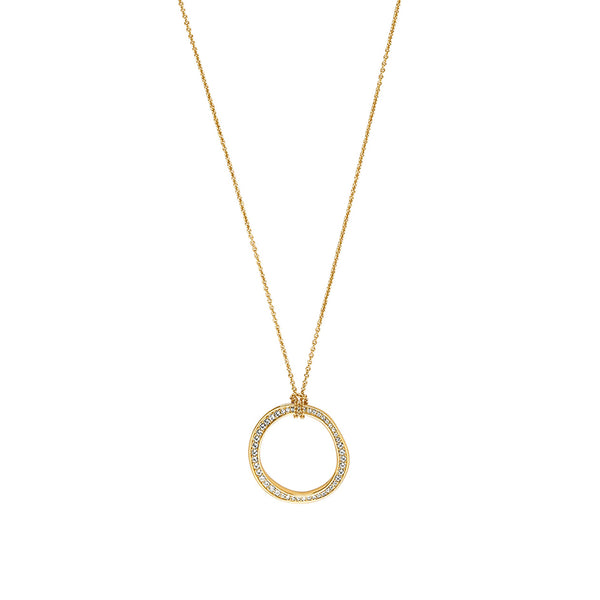 Organic Circle Long Necklace - Crystal/Gold Plated