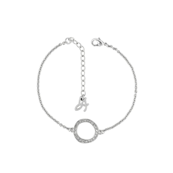 Organic Circle Bracelet - Crystal/Rhodium Plated