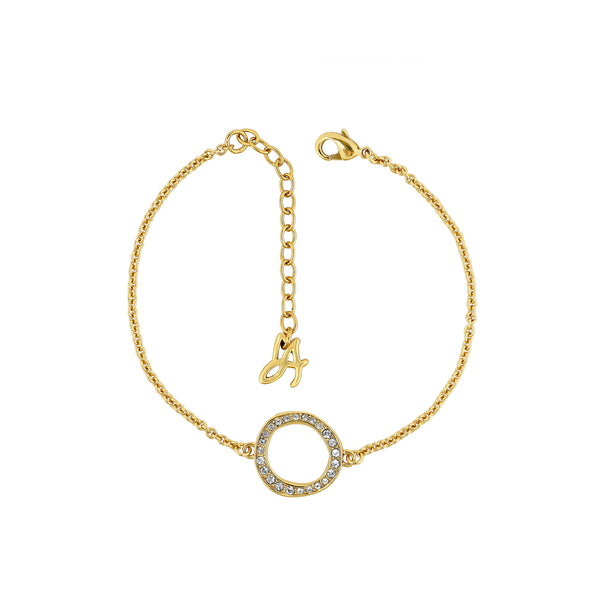 Organic Circle Bracelet - Crystal/Gold Plated