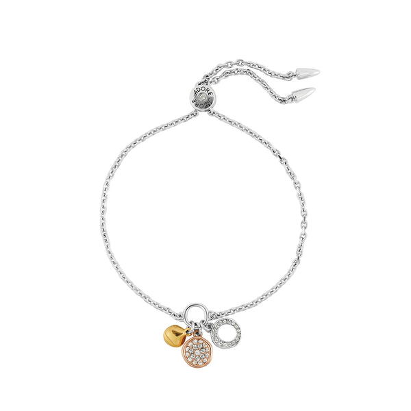 Organic Circle Charm Bracelet - Crystal/Rhodium Plated