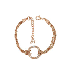Organic Circle Braided Bracelet - Crystal/Rose Gold Plated