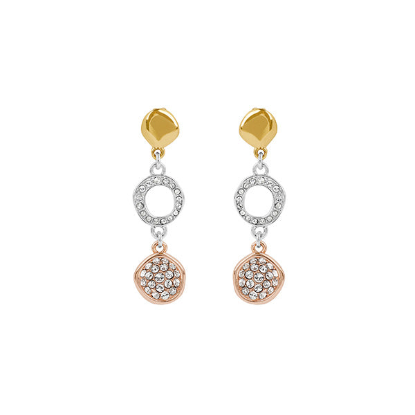 Organic Circle Drop Earrings - Crystal/Rhodium Plated