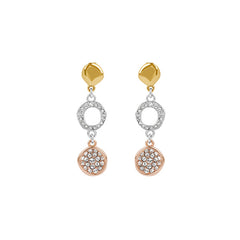 Organic Circle Drop Earring - Crystal/Rhodium Plated