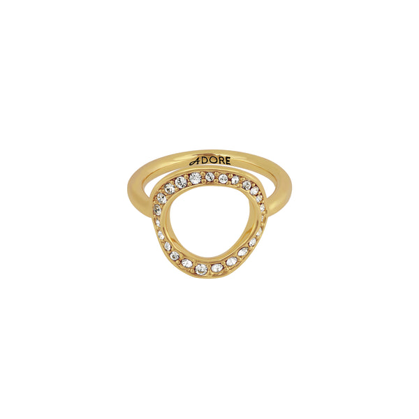 Organic Circle Ring - Crystal/Gold Plated