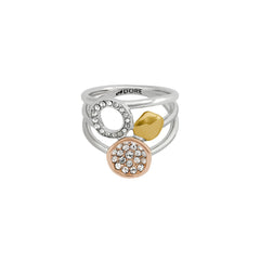 Organic Circle Charm Ring - Crystal/Rhodium Plated