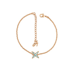 4 Point Star Bracelet - Indian Sapphire/Rose Gold Plated