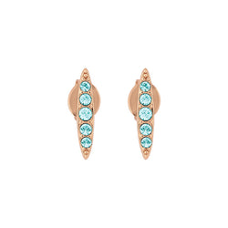 Pave Navette Stud Earrings - Indian Sapphire/Rose Gold Plated