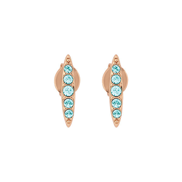 Pave Navette Stud Earring - Indian Sapphire/Rose Gold Plated