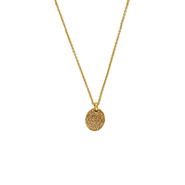 Pavé Oval Necklace - Light Colorado Topaz/Gold Plated