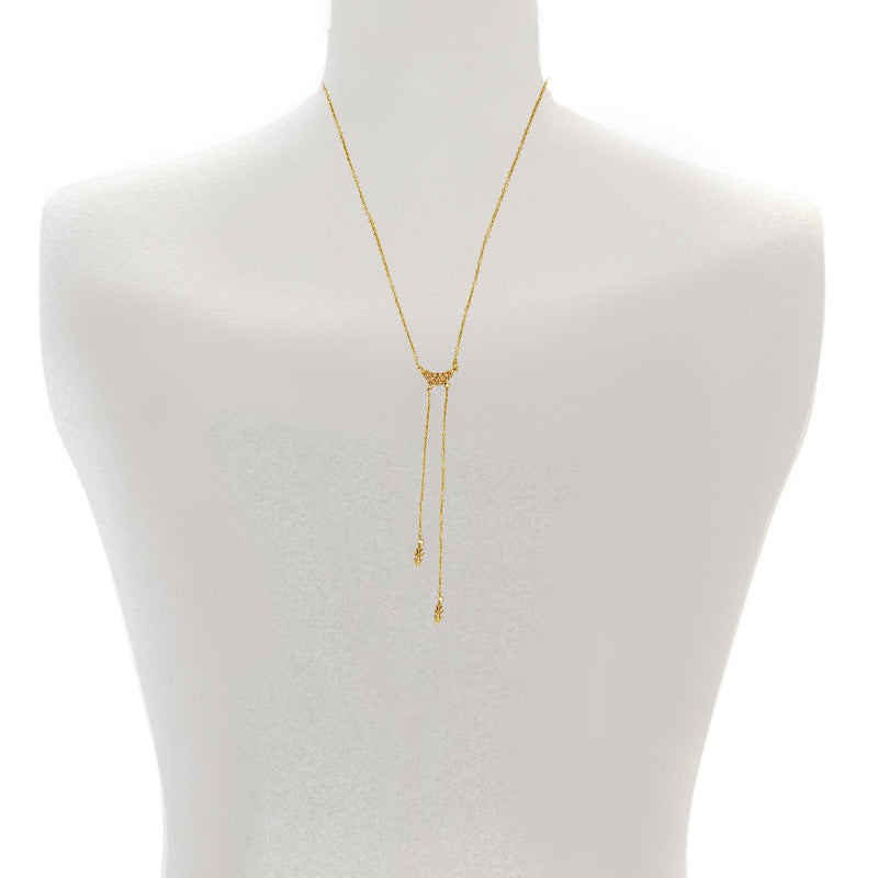 Pavé Swoop Y Necklace - Indian Sapphire/Rose Gold Plated