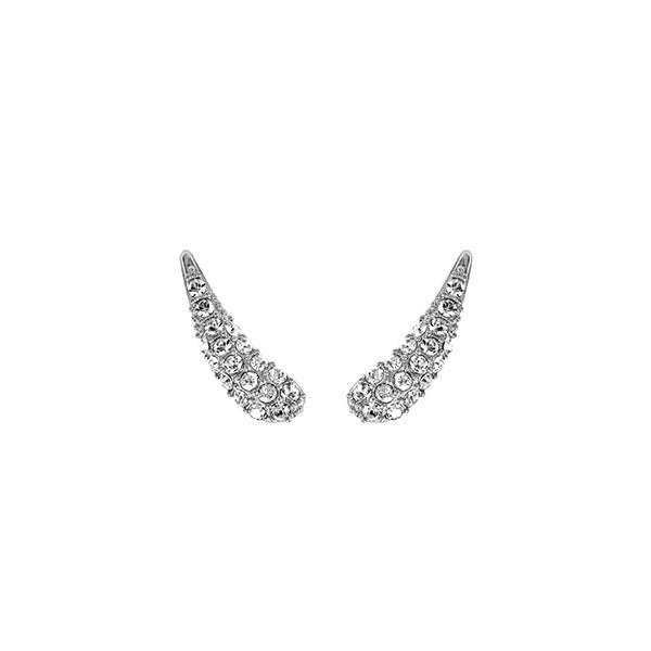 Pavé Swoop Earring Crawlers - Crystal/Rhodium Plated