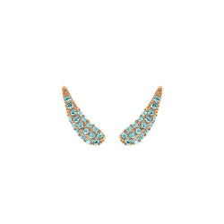 Pavé Swoop Earring Crawlers - Indian Sapphire/Rose Gold Plated