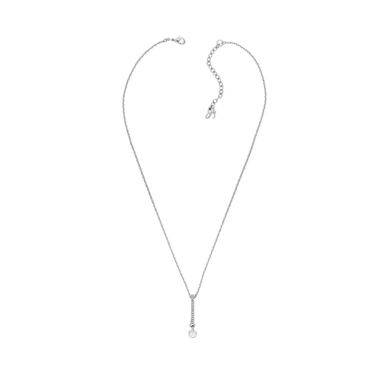 Linear Pavé & CZ Necklace - Crystal/Rhodium Plated