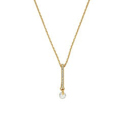 Linear Pave & CZ Necklace - Crystal/Gold Plated