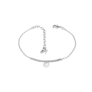 Linear Pavé & CZ Bracelet - Crystal/Rhodium Plated