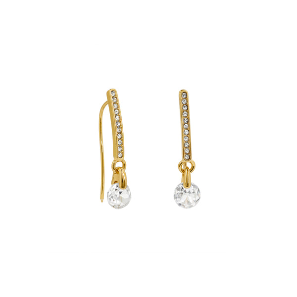 Linear Pavé & CZ French Wire Earrings - Crystal/Gold Plated