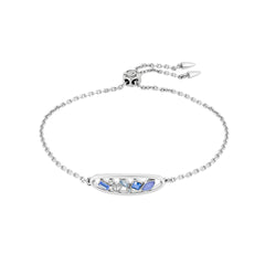 Mixed Crystal Oval Slide Bracelet - Mixed Blue Crystal/Rhodium Plated