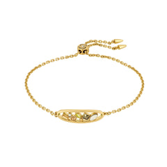 Mixed Crystal Oval Slide Bracelet - Mixed Gold Crystal/Gold Plated