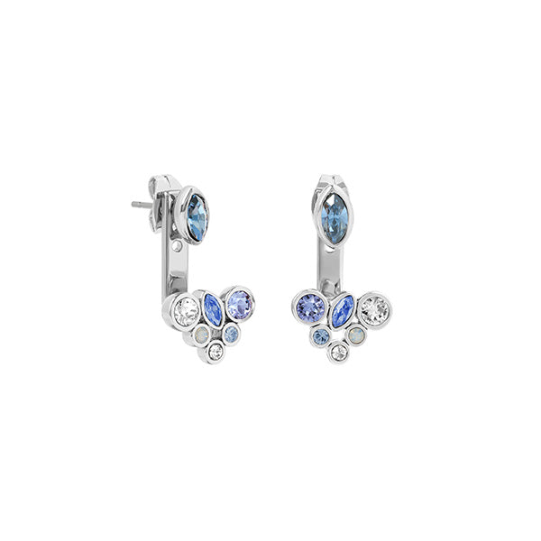 Mixed Crystal Earring Jackets - Mixed Blue Crystal/Rhodium Plated
