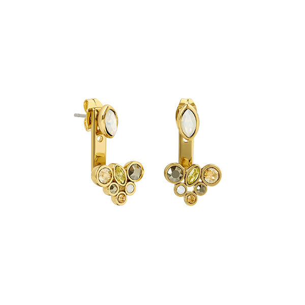 Mixed Crystal Earring Jackets - Mixed Gold Crystal/Gold Plated