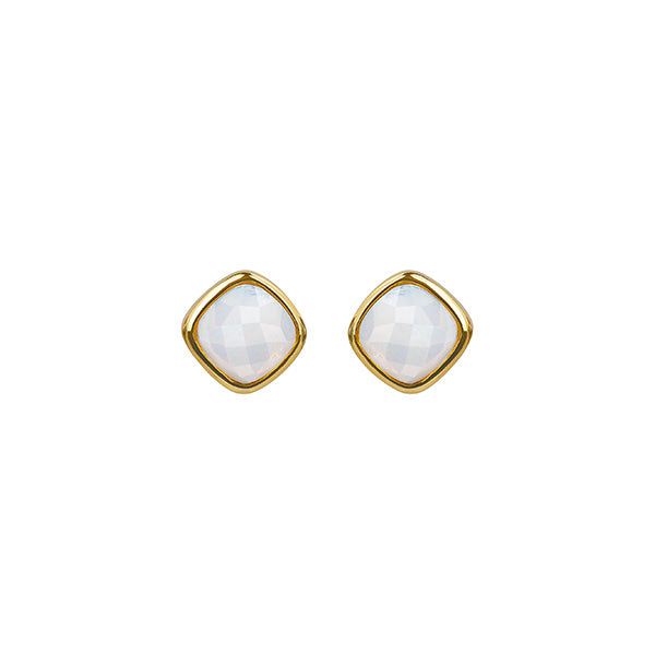 Cushion Stone Earring - Crystal/Gold Plated