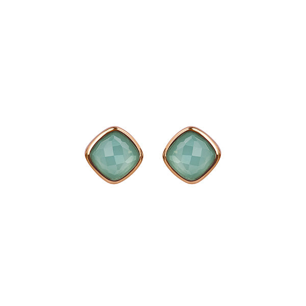 Cushion Stone Earrings - Crystal/Rose Gold Plated