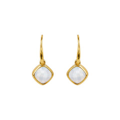 Cushion Stone French Wire Earring - Crystal/Gold Plated